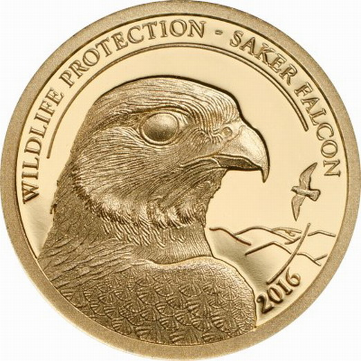 金银 外国金银币 金币 蒙古2016年草原动物系列猎隼精制纪念金币  中