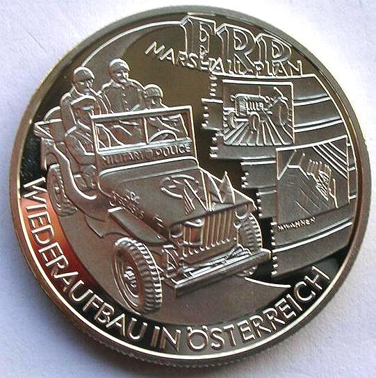 奥地利2003年欧洲马歇尔复兴计划20欧元银币图片