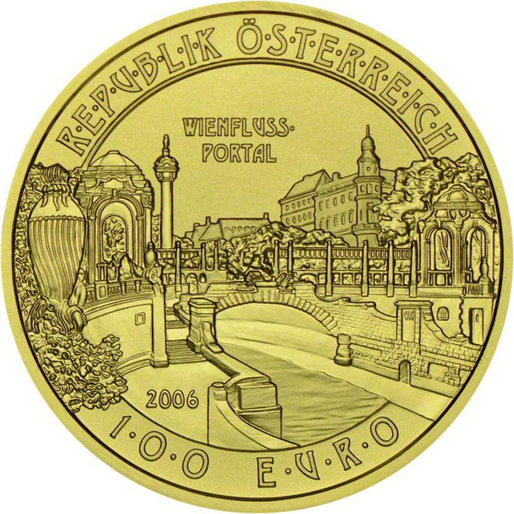 2006年奥地利发行维也纳河畔之门100欧元精制纪念金币图片