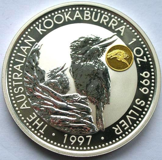 澳大利亚1997年凤凰镀金加字翠鸟1盎司镜面银币