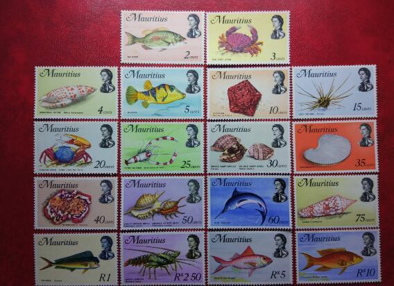 海洋鱼类螃蟹贝壳虾剑鱼海螺18枚全 大套票 1969年